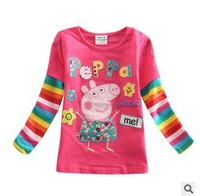 FREE SHIPPING F4098# peppa pig  girls tunic top peppa pig embroidery for children girl dress long sleeve T-shirt clothing