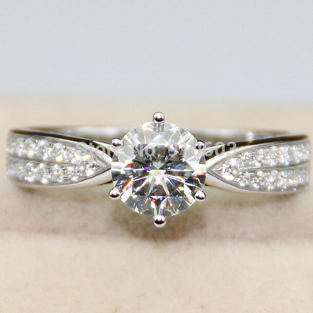 Luxury 0.5 Carat Loose Moissanite Lab Grown Diamond Duet Halo Ring 14K White Gold Ring Diamond Engagement Wedding Ring For Women(China (Mainland))