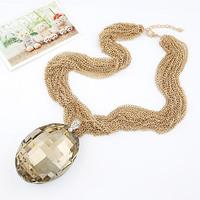 Luxury Grass Crystal Geometric Gem Drop Gold Choker Chunky Bib Statement Necklaces & Pendants 2014 New Fashion Jewelry Women N21