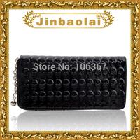 Punk bone zipper women wallet with pendant change purse 8006#