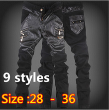 Plus size New Men's Skinny Leather Pants Motorcycle Faux Leather Stitching Brand Sweatpants Jeans 9 styles Free Shipping 10-9(China (Mainland))