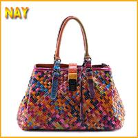 EU Styles Woven Star bag Vintage Fashion Bags Women's Cowhide Genuine Leather Handbag Fashion Brand Real Natural Tote