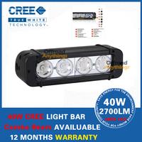 8'' 40W CREE Light Bar Rigid Single Row 10W LED Light Bar Spot Flood LED Fog Lights For Trucks Boats Offroads Work Light Bars
