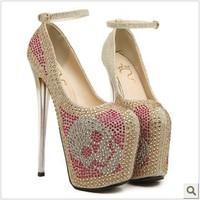 Ladies Sexy 19cm Ultra High Heels Platform Women Pumps Female Shoes With Rhinestones Size 35-40 Wholesale MS6678 -9 -2