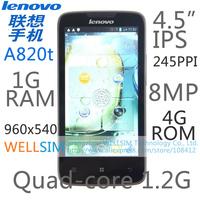 Original Lenovo A820T Mobile phone Multi language 4.5IPS 960x540 MT6589 Quad core 1.2G 1G RAM 4G ROM  Android 4.1 8MP