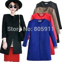 Hot Sale  Casacos Femininos Fashion Casual Slim Cardigans Black Red Blue Khaki Winter Woollen Coat  Length Women Coat Autumn
