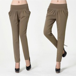 New Fashion Harem Pants Elastic Waist Loose Pants Solid Color Casual Trousers Women's Pencil Pants