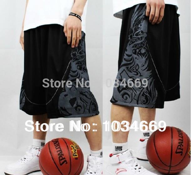 Free shipping 2014 Many kinds of men Basketball shorts street ball shorts summer knee lacing Sports shorts black white XL-XXXXL(China (Mainland))