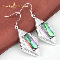 New Arrival Hot Sale Princess Charm Crystal Dangle Earrings Rainbow Mystic Topaz Earrings Silver Jewelry