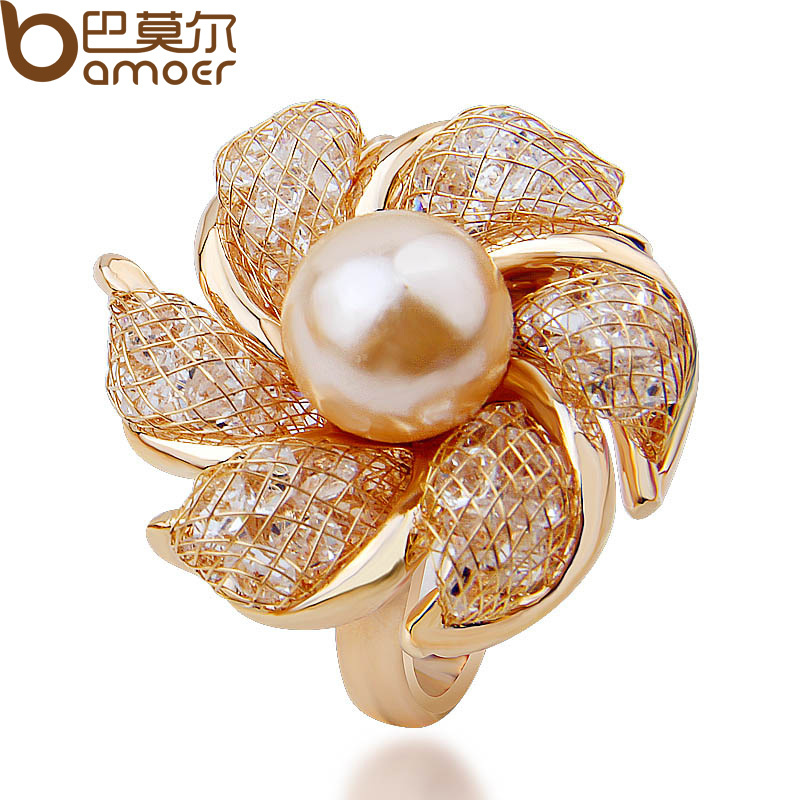 High Quality Romantic 18K Rose Gold Plated Pearl Ring for Women Anniversary Made with AAA Zircon