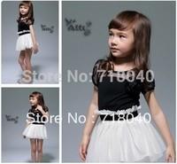 Free Shipping! 2013 New Kids Toddlers Girls White Black Flower Princess Tutu Mini Dress ,girls summer princess dress,2- 7years