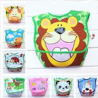 10 pcs/lot Baby Waterproof Bibs Infant Cartoon Zoo PVC Bib Rice Pocket Children's Winter Apprael Baby Supplies