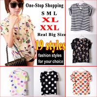 New 2014 Fashion Women Blouse Shirt 19 Styles S-XXL Plus Size Blusas Femininas Spring Summer Women Clothing Batwing Shirt Women