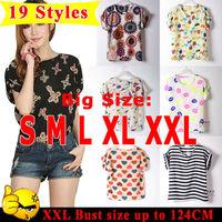 Blusas Femininas 2014 Hot Fashion19 Styles Women Blouse Shirt S-XXL Plus Size Dot/Bird Printed Batwing Sleeve Women T Shirt