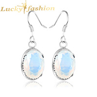 Fashion new brincos grandes silver-plated fantastic cocktail oval moonstone dangle earrings for women IN STOCK