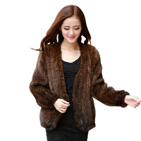 new fashion black color 100% real handmade knitted mink fur overcoat