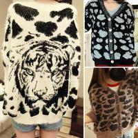 2014 New Autumn Winter Ladies Loose Bat Sleeve Knit Cardigan Tops Sweater Back Tiger Pattern 19400
