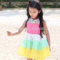kids girls dresses 2015 Sundress Rainbow Striped lace Splicing Lattice toddler girl clothing vestido infantil festa menina