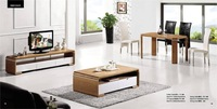Living Room Coffee Table,TV Cabinet and Dinning Table Set,3 piece 1 Set, Ashtree wood Stick, wood furniture set YQ106