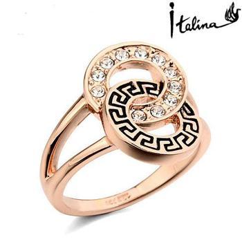 Italina Rigant 18K Rose Gold Plated Genuine Austrian Engagement Ring With Swarovski ...