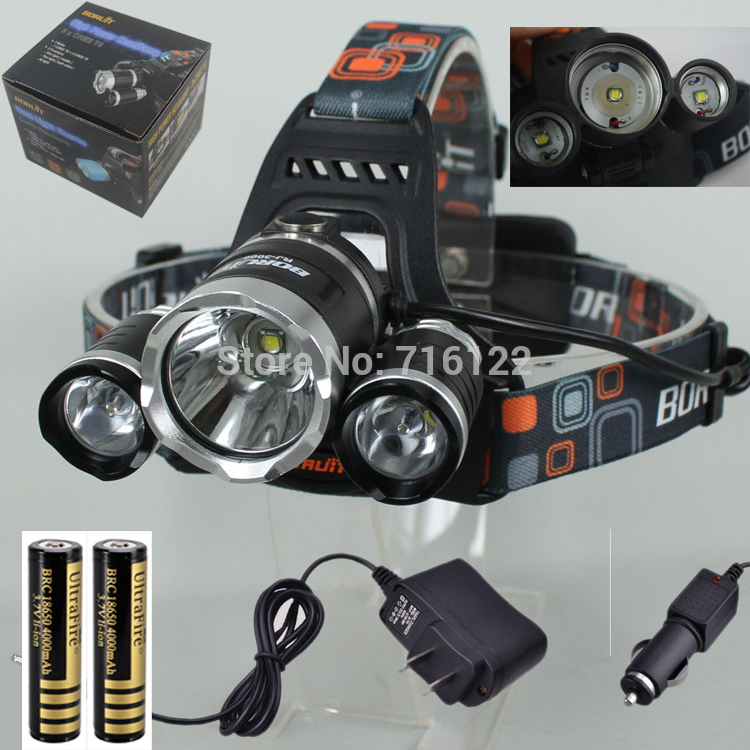 BIG SALE 35$/set 5000 lumens headlamp +2*18650 battery +Charger 3x CREE XM-L XML T6 LED 5000 Lumens Headlight Light Head lamp(China (Mainland))