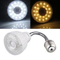 Led Lamp E27 220V 2W Warm White White 23 LED Light IR Infrared PIR Motion Sensor light Detector Flexible tube 120LM 3200K 7000K