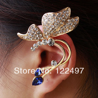 Free shipping 2pcs/lot fashionable Punk Gold Plated Luxury Style Crystal Decoration Clip Left Earring Super Jewelry Women