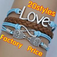 (Minimum order $5,can mix) Antique Silver Infinity Owl Love Bracelet One Direction Bracelet Blessing Bracelet
