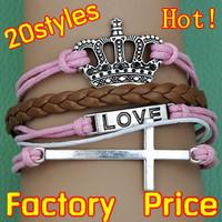 (Minimum order $5,can mix) Antique Silver Cross Love Crown Bracelet Friendship Bracelet One Direction Bracelet
