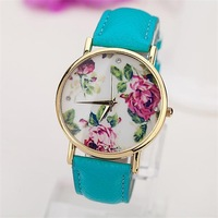 Free shipping! Romantic Flower surface women dress watches, Special style charm leather strap watches
