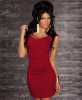 Free Shipping New Fashion 2014 Plus Size Black Red Mini Bodycon Dress Sexy Party Clubwear Dresses With Metal Chain A3362