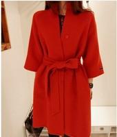 Free shipping new 2014 wool coat women's autumn winter wool jacket with belt fashion red wool overcoat outerwear T008