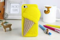 New Arrival 3D Design cute Free Shipping Melt Ice cream Skin Hard Back Cover Case for Iphone 4 /4s 1piece free shipping