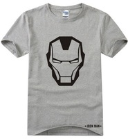 2014 summer new brand Marvel Iron Man Short Sleeve Cartoon print 100% Cotton casual men t-shirts t shirt tshirt camisas top