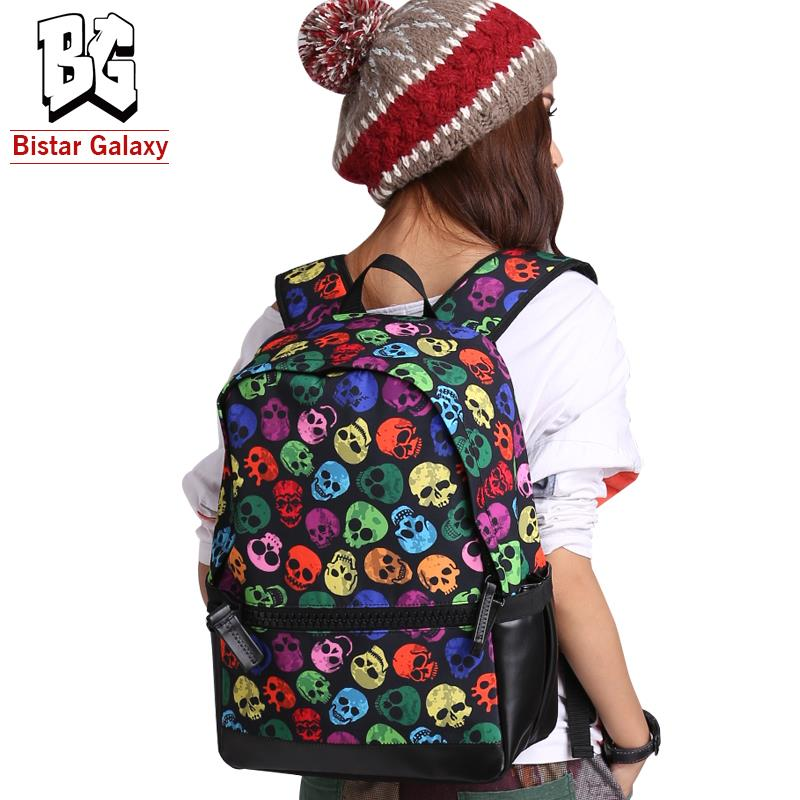 Best Quality Canvas and pu leather Stylish Backpack coloured skull printing for woman, Bistar Galaxy brand, free shipping BBP128(China (Mainland))