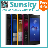 Original HTM M3 MTK6572 Dual Core Cell Phone Android 4.2 Dual SIM 5MP Camera 4GB ROM 5.0inch Screen 3G/GPS with Flip Cover