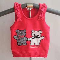 Wholesale 3pcs/lot Girls Cartoon bear vest Kids Knitted waistcoat Baby Autumn/Spring sweater Children knitwear BGMY-300
