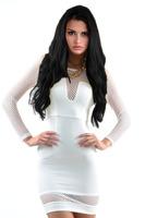 Solid White Women Dress Elegant Fashion Womens Vestidos Long Sleeve Bodycon Slim Evening Sexy Party Dresses 5782A.