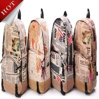 New HOT Vintage flag newspaper printing backpack canvas school bag for teenagers girls bagpacks college mochilas Free shipping
