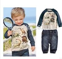 2014 Boys jeans suit Autumn clothing new cartoon long-sleeved t-shirt + pants 2pcs / set Leisure Suit Free Shipping