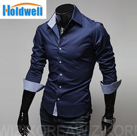 The new fashion 2014 high-quality casual dress shirt Men's leisure pure color long sleeve shirts men plus size 4XL