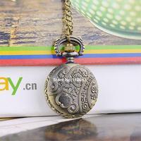 Hot Selling Leaves Hollow Vintage Style Bronze Steampunk Quartz Necklace Pendant Chain Clock Pocket Watch 19318