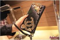 High quality Rivet Rhinestone Diamond Horsehair Wallet Genuine Leather Women's Portable Fox Fur Clutch