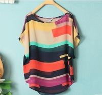 fashion 2014  Women Striped chiffon blouse Multi-colour print shirts Loose style Short Sleeve Brand  plus size tops vestidos