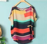 fashion 2014  Women Striped chiffon blouse Multi-colour print shirts Loose style Short Sleeve Brand  plus size tops vestidos