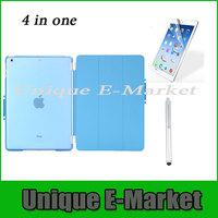 4 in One 1 Set/lot Magnetic Smart Cover +Back Case +Screen Protector +Stylus For iPad Mini and iPad Mini Retina Multi-Color