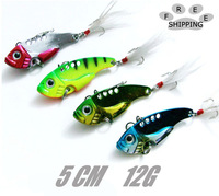 The Metal paillette 5.5 cm12g vibration vib lure set to be bait freshwater fish all 3 d fisheye high carbon hooks free shipping