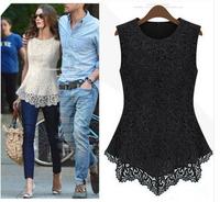 Free Shipping Hottest Summer Fashion Trendy Womens Flora Crochet Peplum Tank Ladies Lace SleevelessTop Shirt Blouse  LQ2860LBR