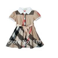Hot sale girl's plaid dress kid's classic UK design princess cotton dress summer clothing for children wear free shipping