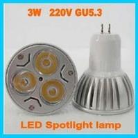 Free shipping 10pcs/lot,220V GU5.3 led Bulb 3W Led Light  LED Spot light lamp CE/RoHS Warm/Cool White